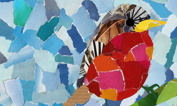 A paper collage depicting a garden bird