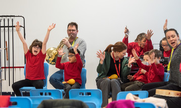 Children with their hands in their, sat next to musicians playing instruments