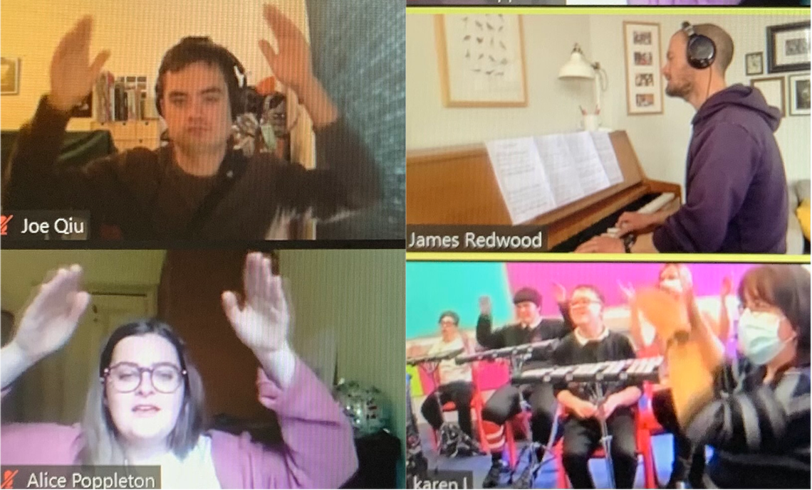 Four musicians play together via Zoom