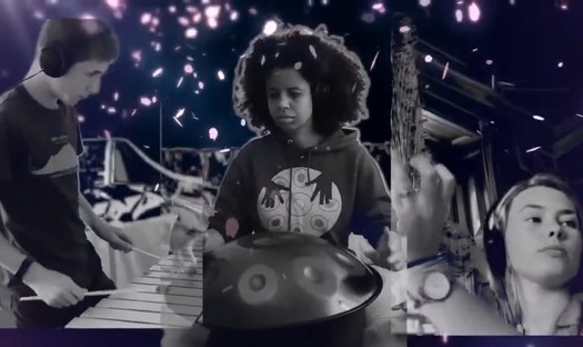 Superimposed images of a young white man playing xylophone, a black woman playing a hand pan, and a white woman playing harp.